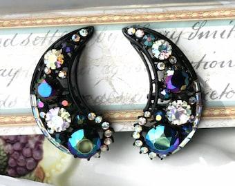 Vintage HOLLYCRAFT Aurora Borealis Rhinestone Earrings, Statement Jewelry, Ear Climbing , TheKeepDrawer, Old Jewelry
