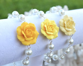 Yellow Rose and Pearls Bracelet, Pale Yellow Rose Bracelet, Sunshine Yellow Rose Bracelet.