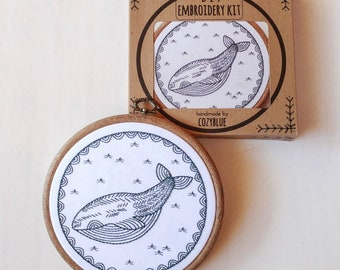 Modern Hand Embroidery Pattern   cozyblue Embroidery Kit - Iron On Embroidery Pattern - WHALE of a TIME