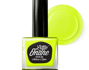 Little Ondine Natural Non-toxic Water-Based Quick Dry Fingernail Lacquer Peel off Nail Polish 10.5ml ( L402-Smack)Neon Yellow