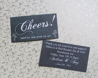 Drink or Beverage Ticket - Double Sided CHALKBOARD - Customized - Personalized Tickets (set of 50)