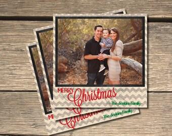 Shabby Grey Chevron Christmas Holiday Photo Card- 5x5