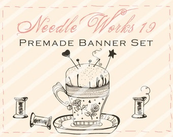 "Banner Set - Shop banner set - Premade Banner Set - Graphic Banners - Facebook Cover - Avatars - Bisiness Card - ""Needle Works 19"""