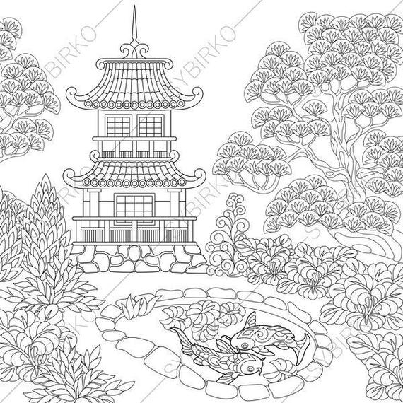 Chinese Pagoda Japanese Garden Coloring Pages Coloring Book