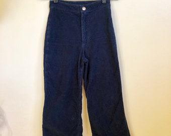 Vintage Womens Navy Blue Velvet Wide Leg Pants // Vintage Sailor Trousers // 25 26