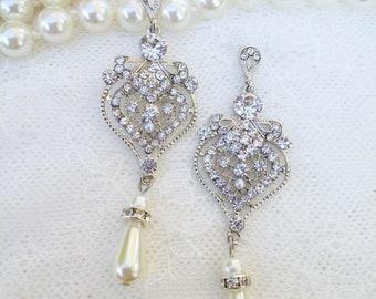 Wedding earrings, 1920's bridal earrings, Bride chandalier Earrings, pearl wedding earrings, CZ earrings, bridal jewelry, Marie Antoinette