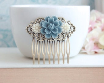 Dusty Blue Chrysanthemum Rose, Ivory Daisy Flower Hair Comb, Bridesmaid Gift. Blue Bridal, Vintage Rustic Dusky Blue Wedding, Something Blue