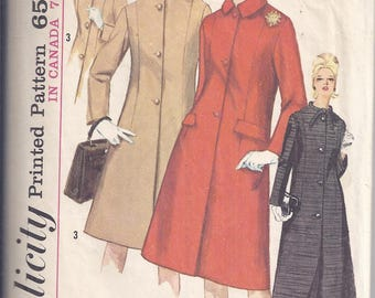 Vintage Simplicity Sewing Pattern # 5558 from 1964  Misses Lined Coat in Two Lengths.  Bust 33