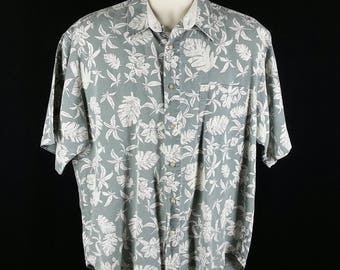 Hawaiian print aloha shirt floral camp Bugle Boy size L large