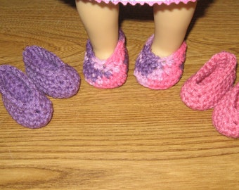 """slippers shoes 3 Pairs Hand-Crocheted for 18 inch 18"""" dolls pink purple will fit American Girl"""