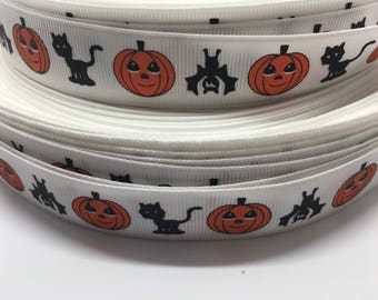 "3 yards 7/8"" Halloween Cat Bat and Pumpkin grosgrain ribbon"