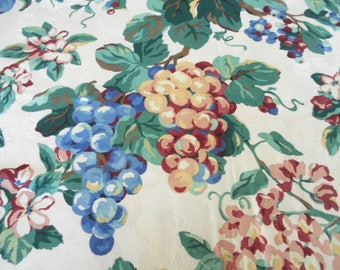 1.77 Yards Vintage 100% Cotton Upholstery Fabric Western Textile Floral and Fruit on Damask