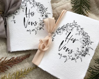 VOW BOOKS|#251 (Handmade Paper, Vow Booklets, Organic, Simple, Beautiful, His and Her Vows)
