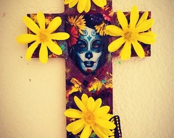 OOAK DiY Day of the Dead Dia De Los Muertos La Catrina wooden  Cross