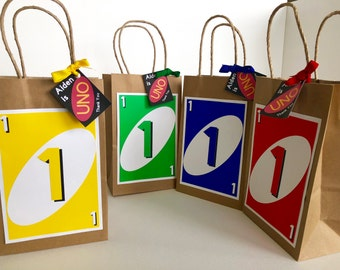 Colorful 'UNO' Themed Party Favor Bags (Set of 4)