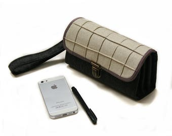 Gray Tech Wallet Wristlet in Oatmeal Fabric, Script Urban Geometric Print Clutch for iPhone 10, Samsung Galaxy Plus case  - ready to ship