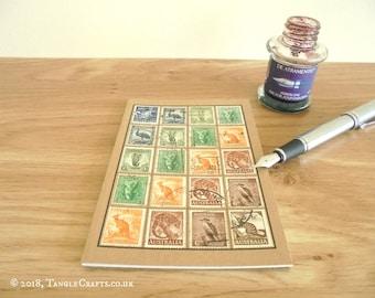 Australia Travel Notebook, Vintage Wildlife Postage Stamps