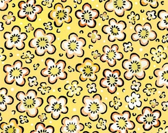 Yellow Posies Fabric; 12JPI2; You Choose Size; Julie Paschkis for In the Beginning; Four Seasons - Spring; Floral Fabric