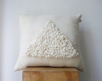 Giant fluffy pillow cover, White Chunky Cushion case, Scandinavian knit loops Pillow Case, Geometric style