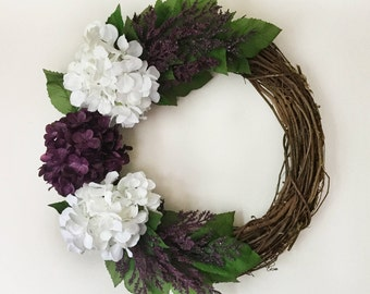Purple Hydrangea Wreath. Purple White Hydrangea Wreath. Summer Wreath. Home Decor.