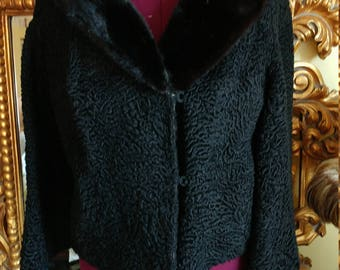 Vintage 1950's Black Persian Lamb Jacket with Mink Collar