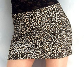 High waisted leopard print spandex mini skirt black lace top