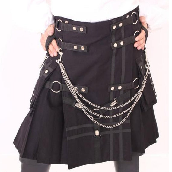 Black Tactical kilt for men with multi metal work stylish front chains LmTbYuPFY