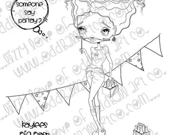 Digi Stamp Digital Instant Download Big Eye Party Girl - Kaylees Big Bash Image No. 190 by Lizzy Love