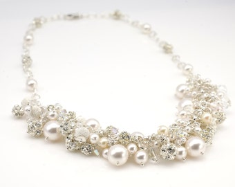 Pearl Cluster Necklace | Bride Ivory Pearl Necklace | Swarovski Crystal Pearl Rhinestone Cluster Neclace