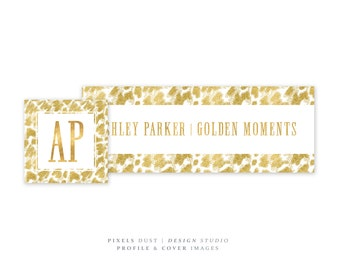 Premade Cover, Gold Branding, Facebook Banner, Metallic Gold Glitter Custom Cover Banner Profile Picure, Luxury Elegant Branding Blog