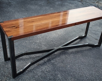 The Long One   Black Walnut And Steel Coffee/sofa Table