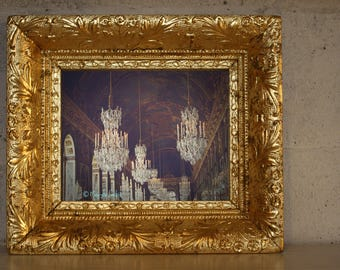 Versailles chandeliers in hall of mirrors photo perfect for your wall decor