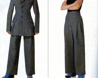 Vogue 2109 ISSEY MIYAKE PANTSUIT Pattern Jacket & Wide Leg Pants Vogue Designer Original Size 14 16 18 Womens Sewing Patterns