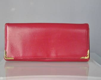 Red Leather Wallet / Vtg 50s / Ronay Red Leather Wallet