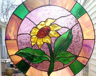 Stained Glass Round Sunflower Panel