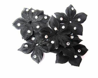 FASHIONED IN BLACK SILK FLOWER AND RHINESTONE CRYSTAL 35 MM