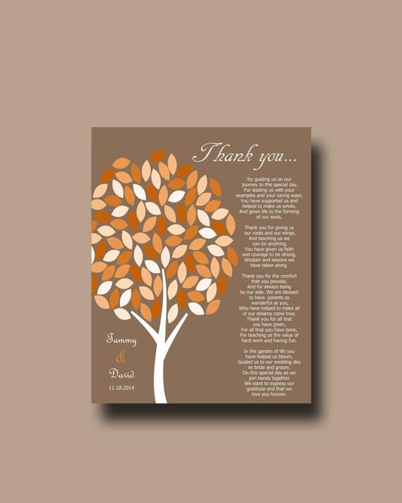 Parents Wedding Gift Personalized Parents Poem Thank