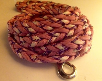 Fishtail Flat Braid Paracord Dog Leash - 1cm  wide