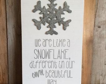Snowflake Ornament Christmas Sign - Christmas Decor - Snowflake - Christmas Glitter Wood Sign - Holiday Decor - Snowflake Sign