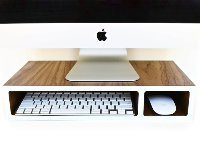 Featured listing image: Monitor Stand   Riser   Walnut + Colored Laminate   3 sizes available   designed for Wireless Accessories   optional Wire Hole(s)