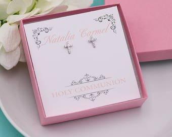 First Communion Earrings, Cross Earrings, first communion jewelry, Swarovski Crystal earrings set, Girls Cross Earrings
