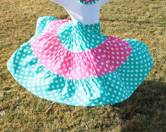Maxi Dress - Easter - Girls Modest Clothes - Casual Kids - Pink and Teal Polka Dot - Church - Twirling Dress - Long - Special Occasion