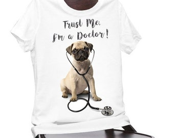 Printed t-shirt, white t-shirt, women's t-shirt, men's t-shirt, cotton t-shirt, pug t-shirt, printed tee, white tee, cotton, funny
