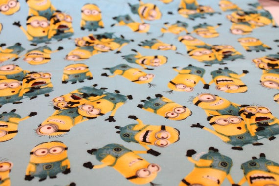 Minion Flannel Cotton Fabric By the Yard | Blue Yellow Despicable Me ...