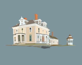 Custom house portrait | original illustration of your home | unique personalized print by Richard Kaponas & Kathryn DiLego