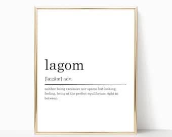 Lagom Definition Print, Modern Home decor, Lagom poster, Printable Poster, Bedroom Print, Bedroom Decor, Typography Art, DIGITAL DOWNLOAD