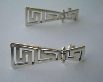 Meander Sterling Silver 925 Earrings - Maiander Greek - Maiandros - Ancient Greece