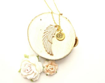 Personalised Angel Wing Initial Necklace - Custom Angel Necklace, Custom Initial Necklace, Custom Jewelry, Angel Jewelry, Angel Jewellery