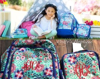Monogrammed Backpack-- Book bag Monogrammed -- Lunch Box monogram-- Pencil Bag Personalized bag-- Monogrammed Bookbag and Lunch Box-- Mint-