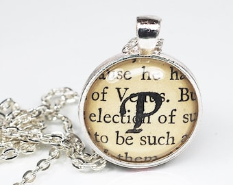 Initial P Necklace- Personalized Jewelry, Letter P Initial Jewelry, Silver Custom Necklace, P Pendant Necklace, Book Lover Gift